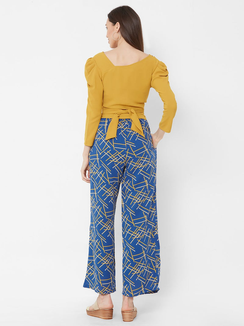 ZOLA Yellow Asymmetric Top with Blue Printed Pants + Pockets