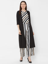 ZOLA Striped Top Pant Set with Long Black Jacket