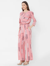 ZOLA Pink Striped Top Pant Set with Embellishments + Pockets