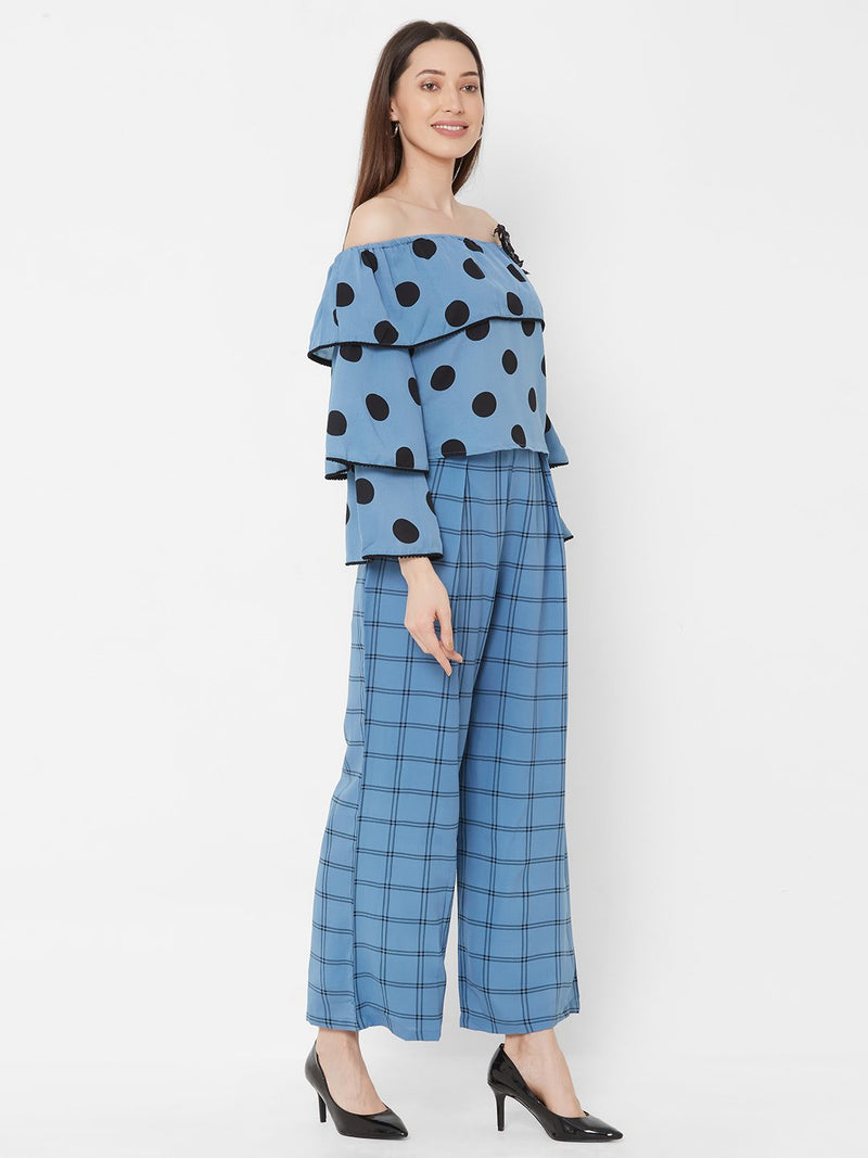 ZOLA Blue Polka Dot Off-Shoulder Top with Checks Pant