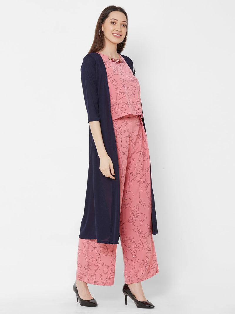 ZOLA Pink All-over Printed Top & Pant Set + Long Jacket