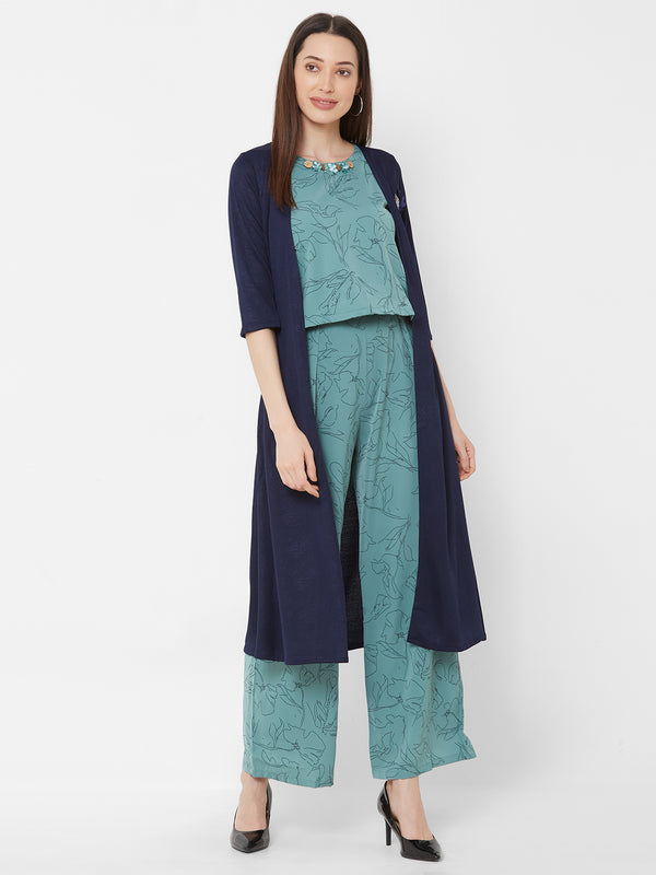 ZOLA Sea Green All-over Printed Top & Pant Set + Long Jacket