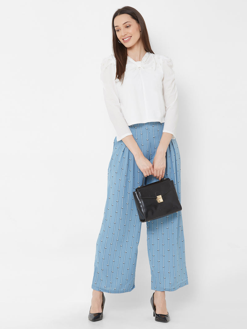 ZOLA White Embellished Top + Blue Printed Pants + Pockets