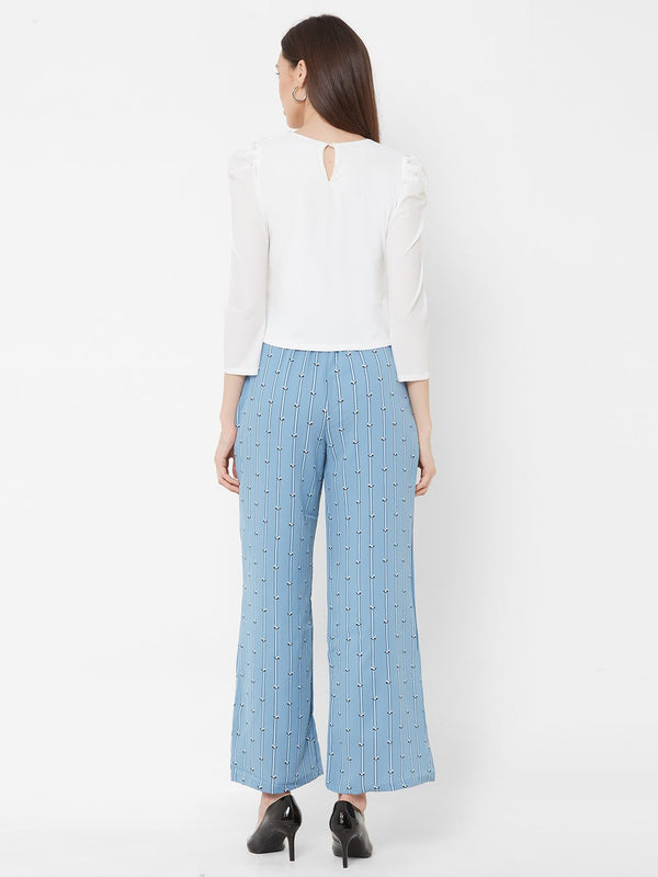 ZOLA Embellished Top + Blue Printed Pants + Pockets