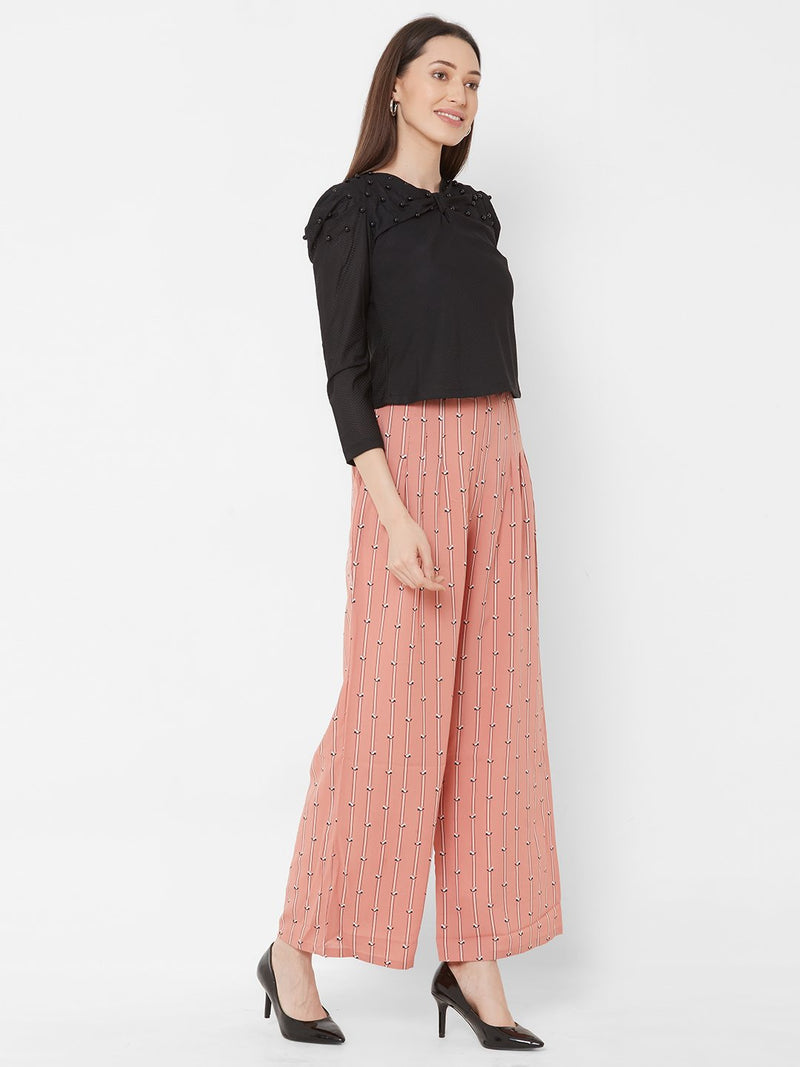 ZOLA Black Embellished Top + Peach Printed Pants + Pockets