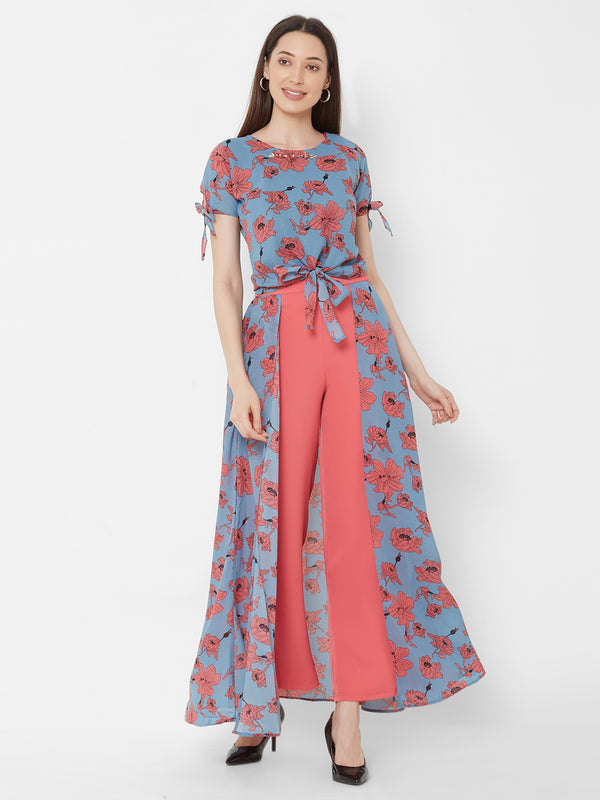 ZOLA Floral Printed Top + Fancy Pant Skirt