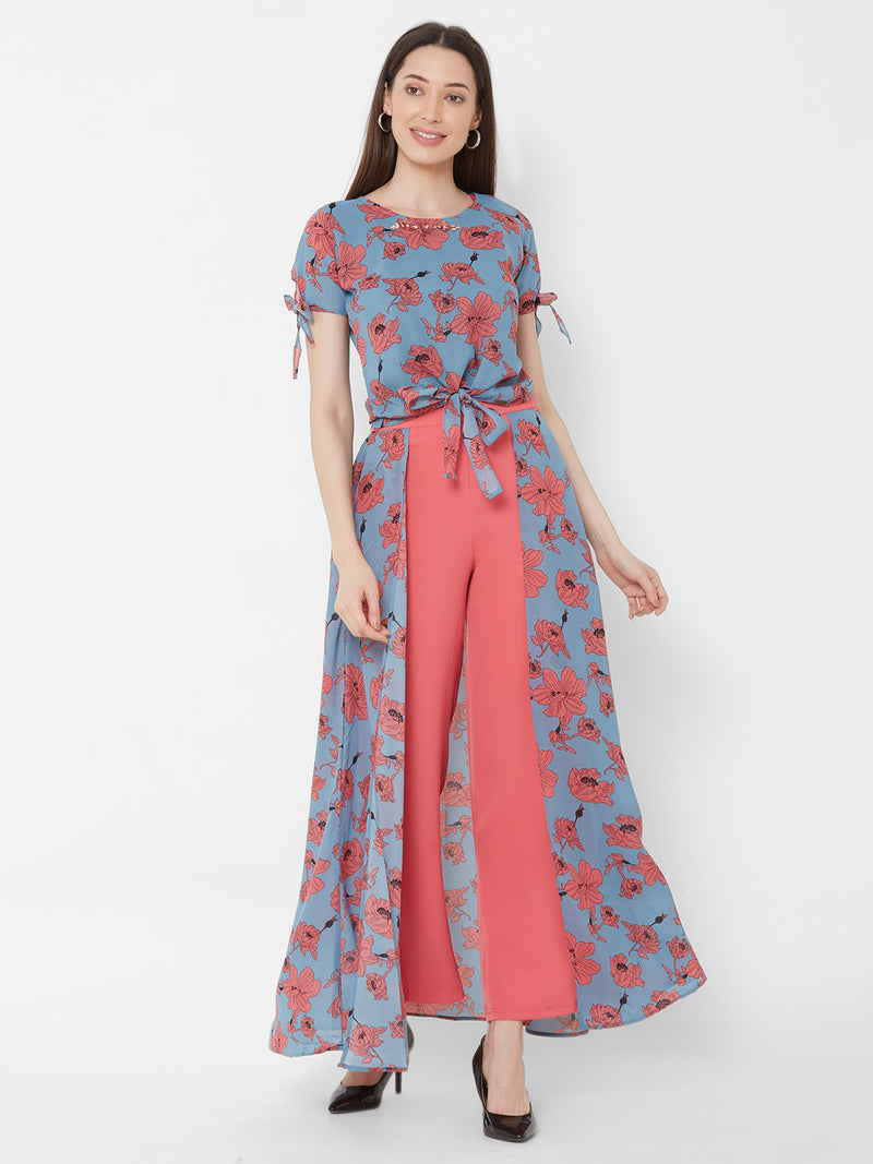 ZOLA Blue Floral Printed Top + Fancy Pant Skirt