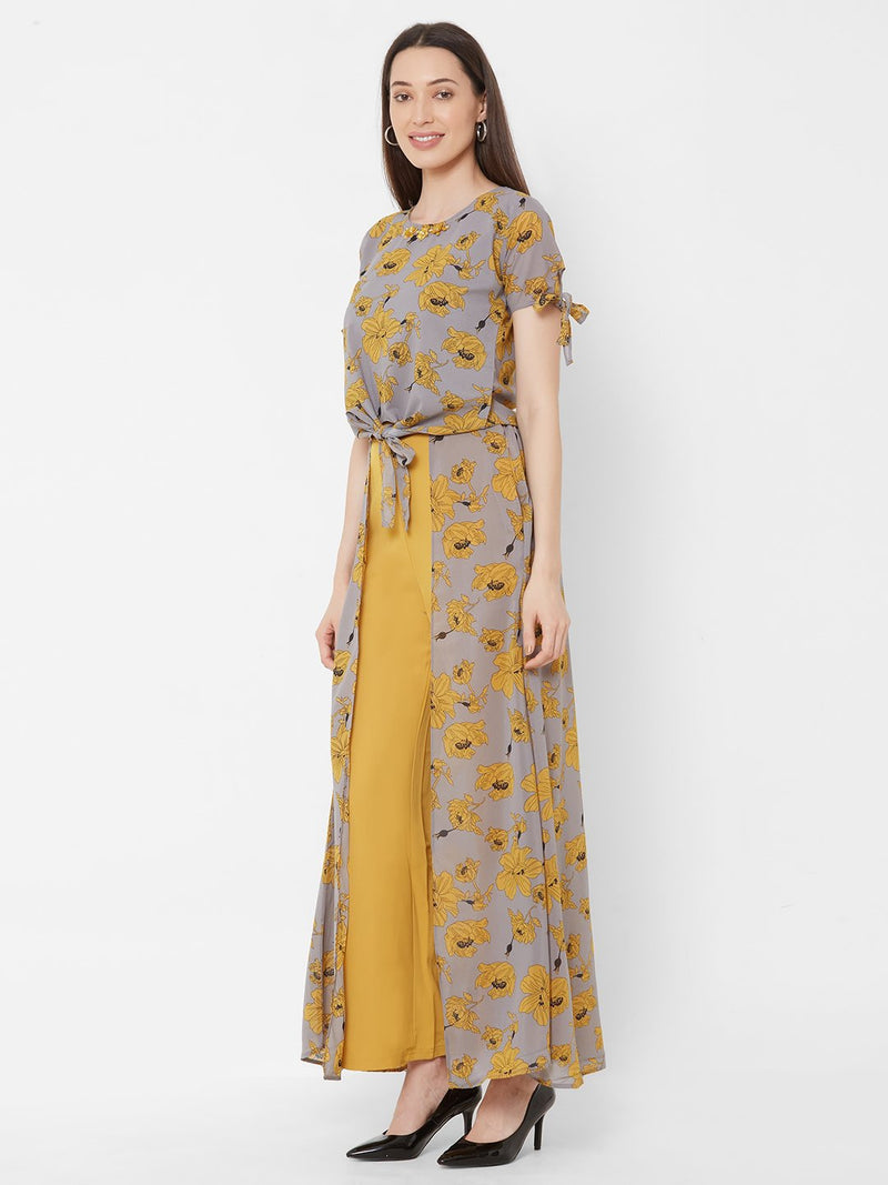 ZOLA Yellow Floral Printed Top + Fancy Pant Skirt
