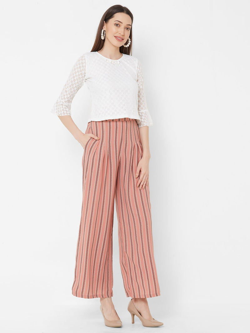 ZOLA White Embellished Top + Peach Printed Pants + Pockets