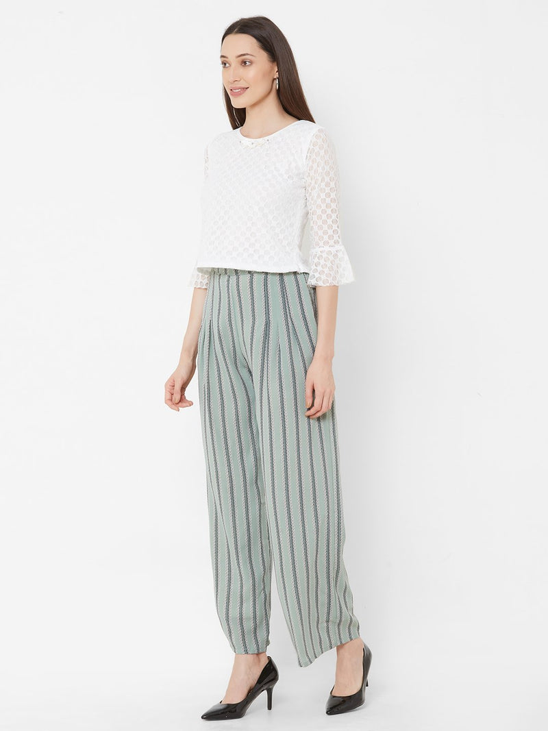 ZOLA White Embellished Top + Pista Green Printed Pants + Pockets