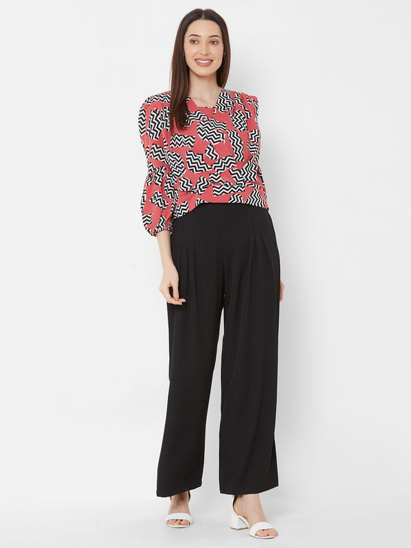 ZOLA Geometric Print Top + Black Palazzo Pants + Pockets