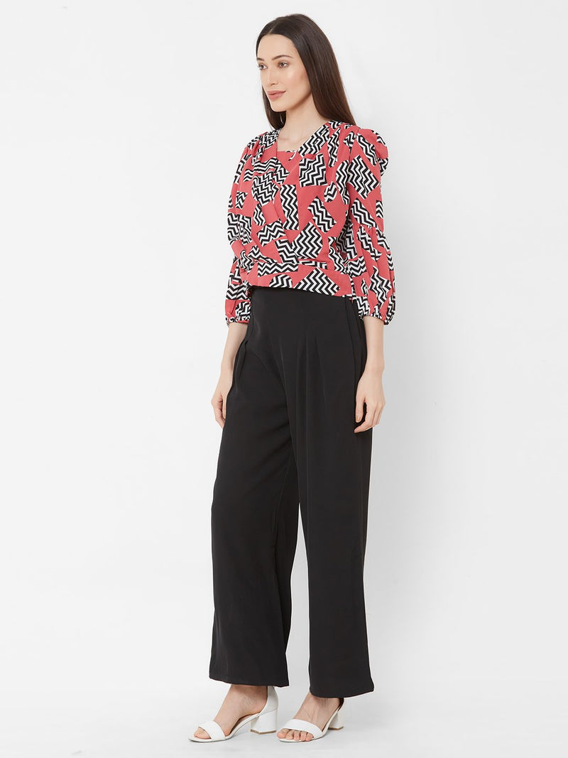 ZOLA Peach Geometric Print Top + Black Palazzo Pants + Pockets