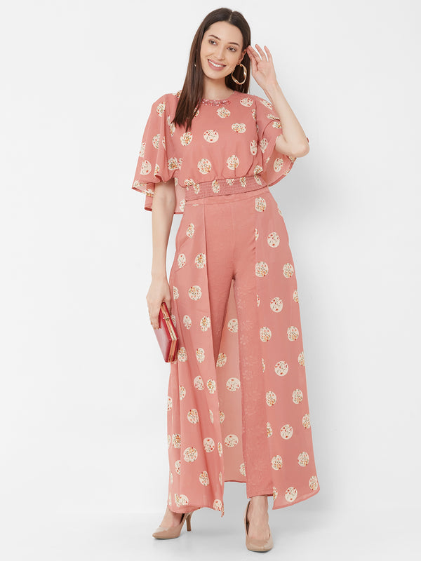 ZOLA Peach Printed Top + Fancy Pant Skirt + Embellishments