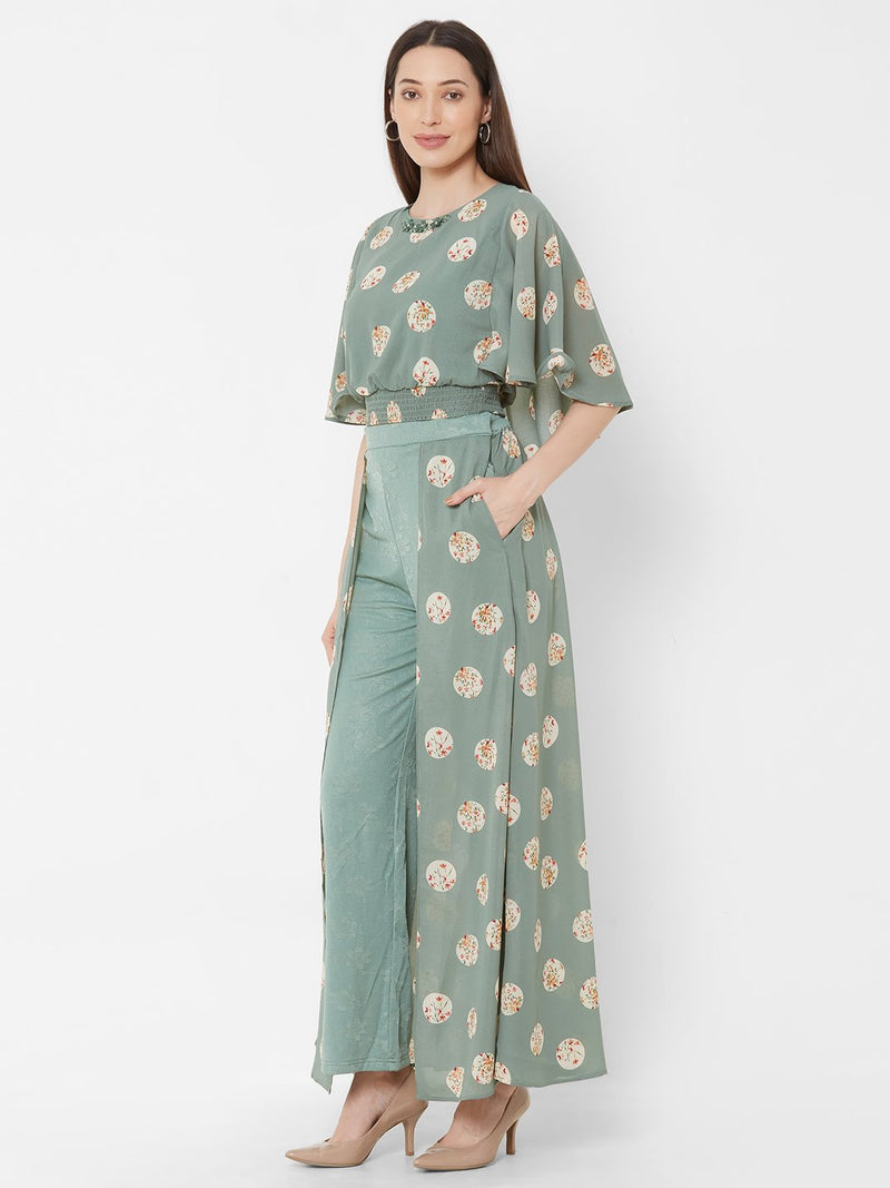 ZOLA Sea Green Printed Top + Fancy Pant Skirt + Embellishments