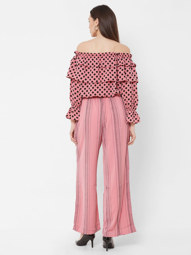 ZOLA Pink Off-Shoulder Top + Striped Pants + Pockets