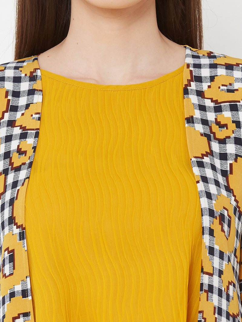 ZOLA Yellow Top + Navy Blue Pants + Long Printed Jacket