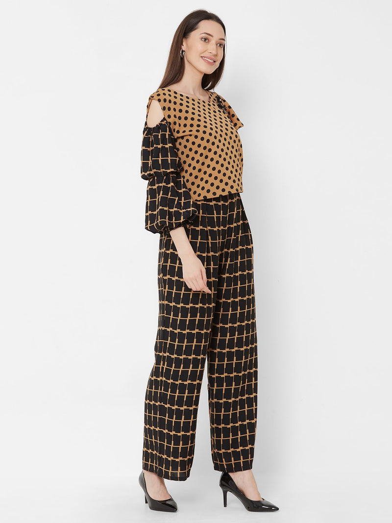 ZOLA Brown Asymmetrical Top + Checks Printed Pants + Pockets