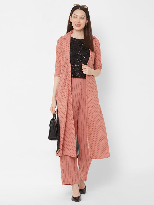 ZOLA Black Shimmer Top + Striped Peach Pants + Pockets + Long Jacket