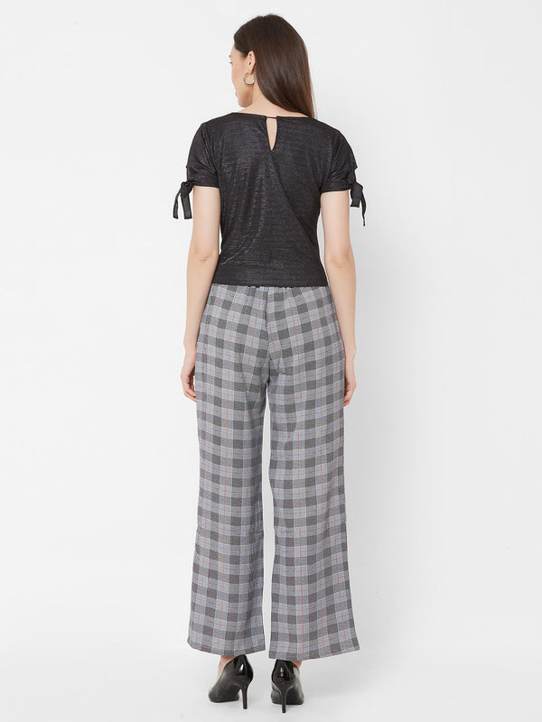 ZOLA Black Shimmer Top + Grey Checks Pants + Pockets