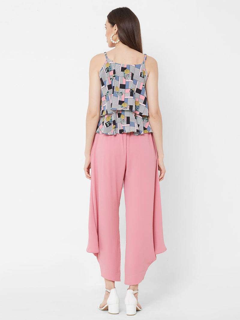 ZOLA Abstract Printed Top + Pink Harem Pants + Pockets