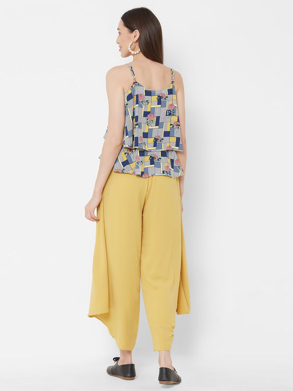 ZOLA Abstract Printed Top + Yellow Harem Pants + Pockets