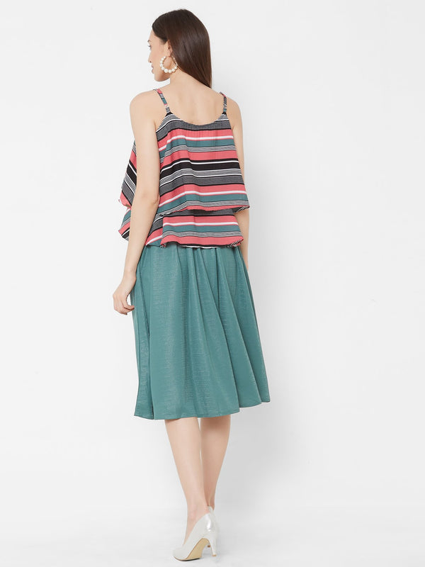 ZOLA Spaghetti Striped Top + Teal Skirt Set