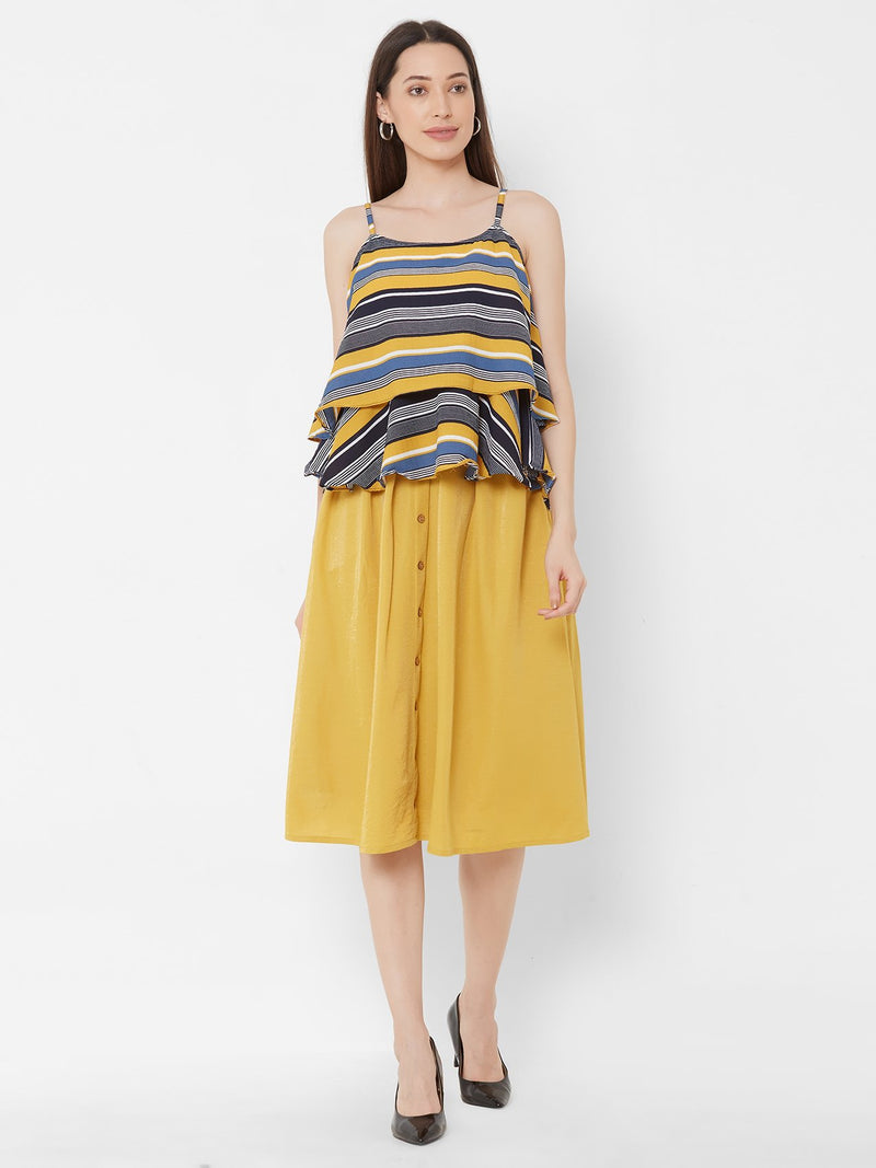 ZOLA Spaghetti Striped + Yellow Skirt Set