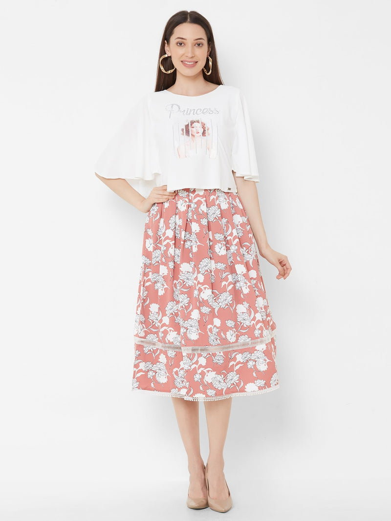 ZOLA Flared Sleeves top + Printed Skirt