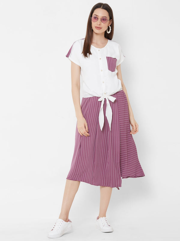 ZOLA White Knot top + asymmetrical Striped Skirt