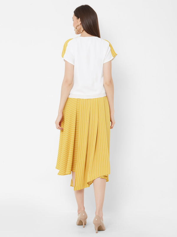 ZOLA Knot top + asymmetrical Yellow Striped Skirt