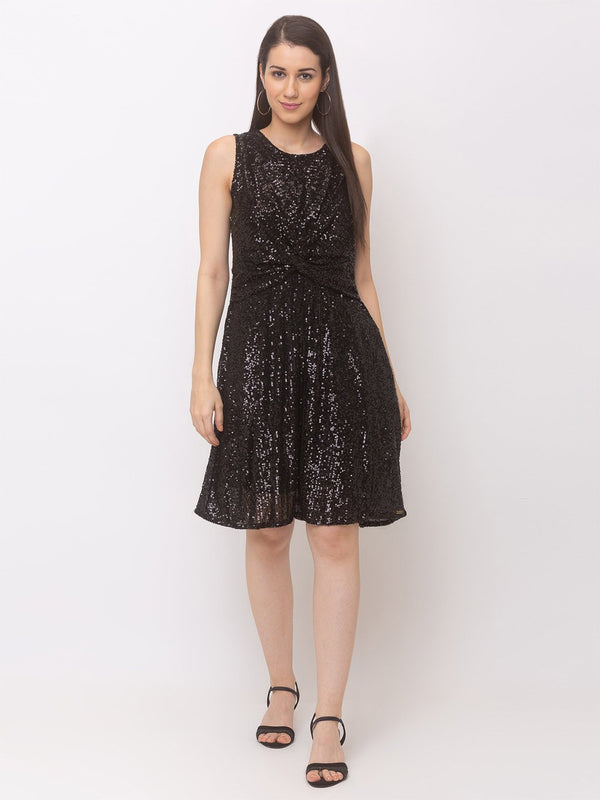 ZOLA Gorgeous Shimmer Flared Dress + Knot
