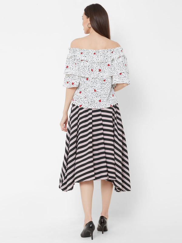 ZOLA Red Printed Off-Shoulder Top + Striped Skirt