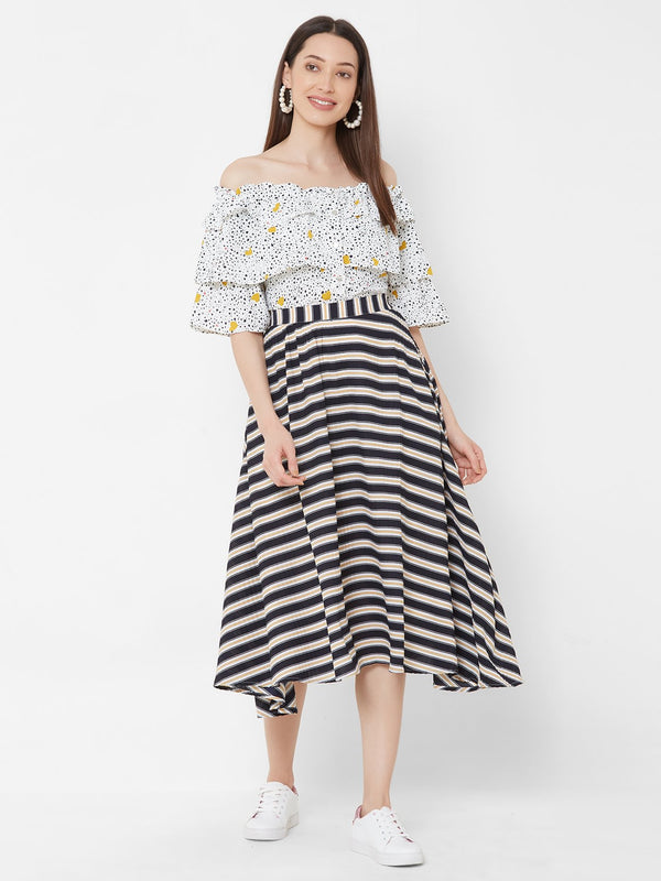 ZOLA Yellow Printed Off-Shoulder Top + Striped Skirt