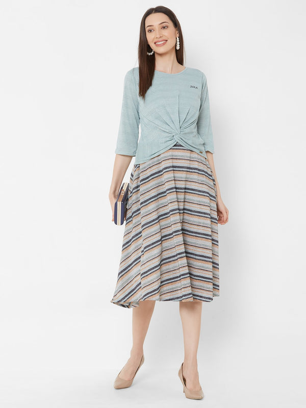 ZOLA Aqua Knot top + Flowy Knee-Length Striped Skirt