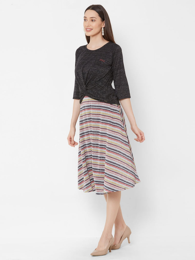 ZOLA Black Knot top + Flowy Knee-Length Striped Skirt