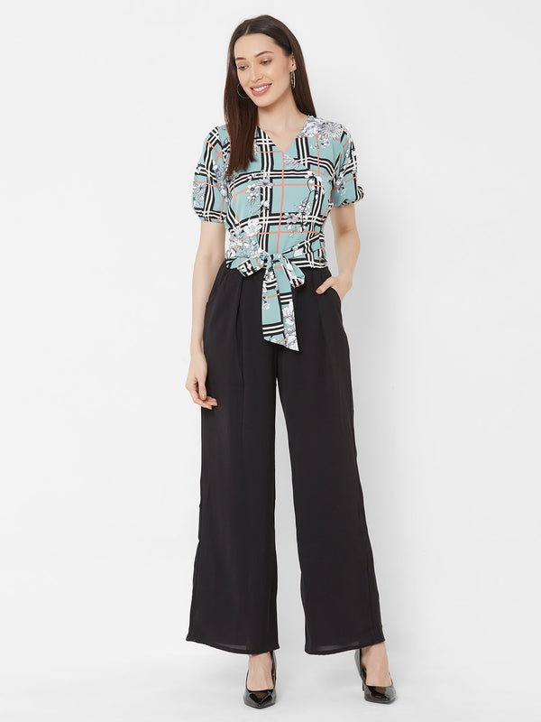ZOLA Printed top + Black High-waist Palazzo Pants