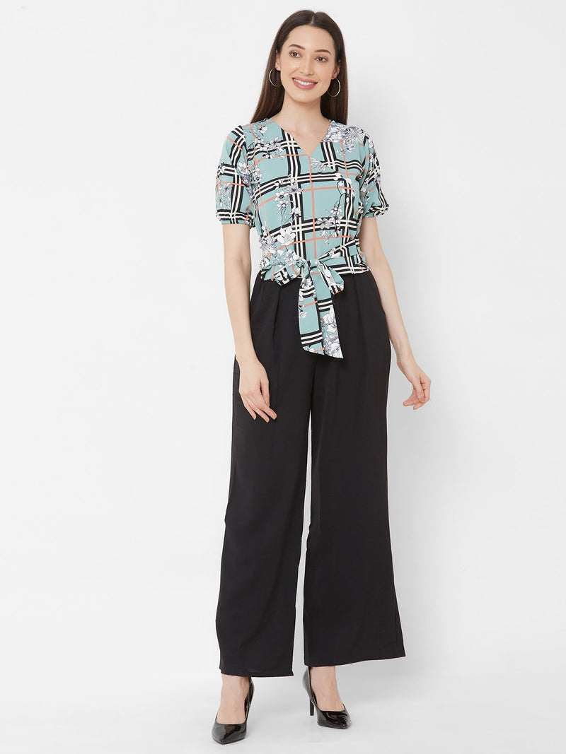 ZOLA Aqua Printed top + Black High-waist Palazzo Pants