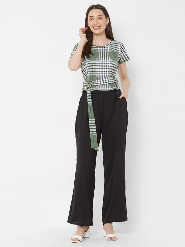 ZOLA Checks top + Black High-waist Palazzo + Pockets