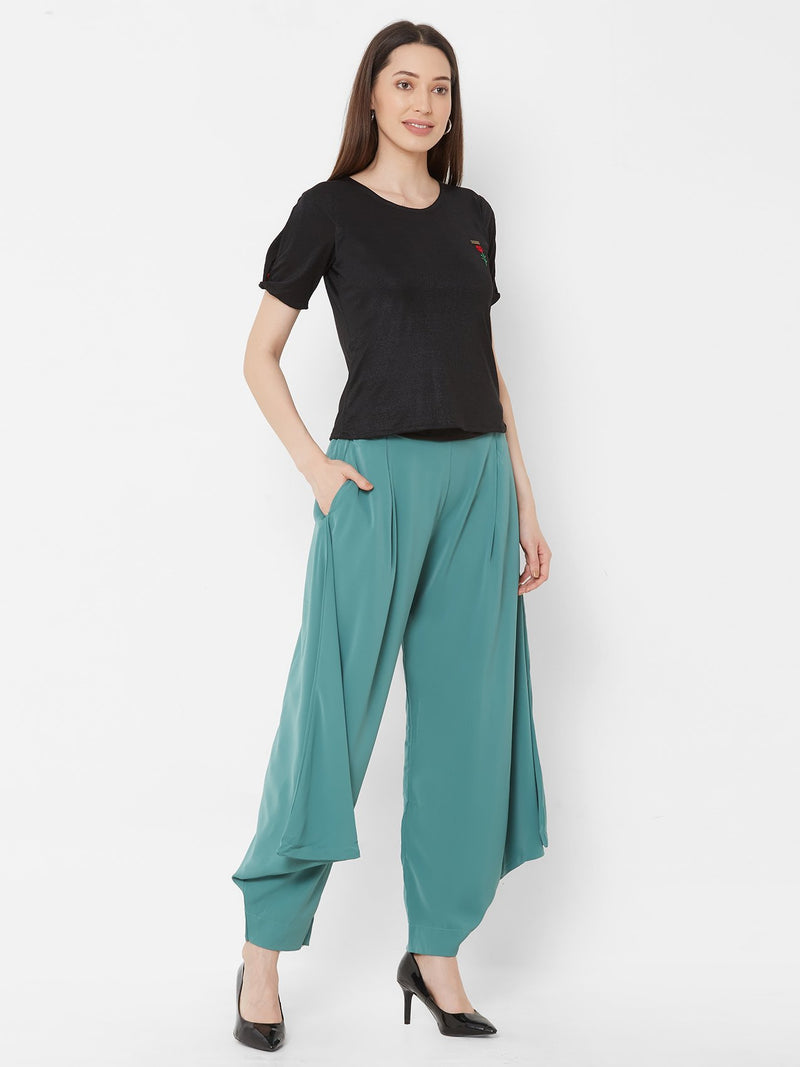 ZOLA Black Shimmer Top + Teal Harem Pants + Pockets