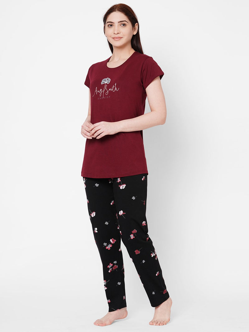 ZOLA Round Neck Floral print Top and Payjama Set  for Women