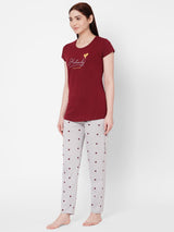 ZOLA Round Neck Heart print Top and Payjama Set  for Women