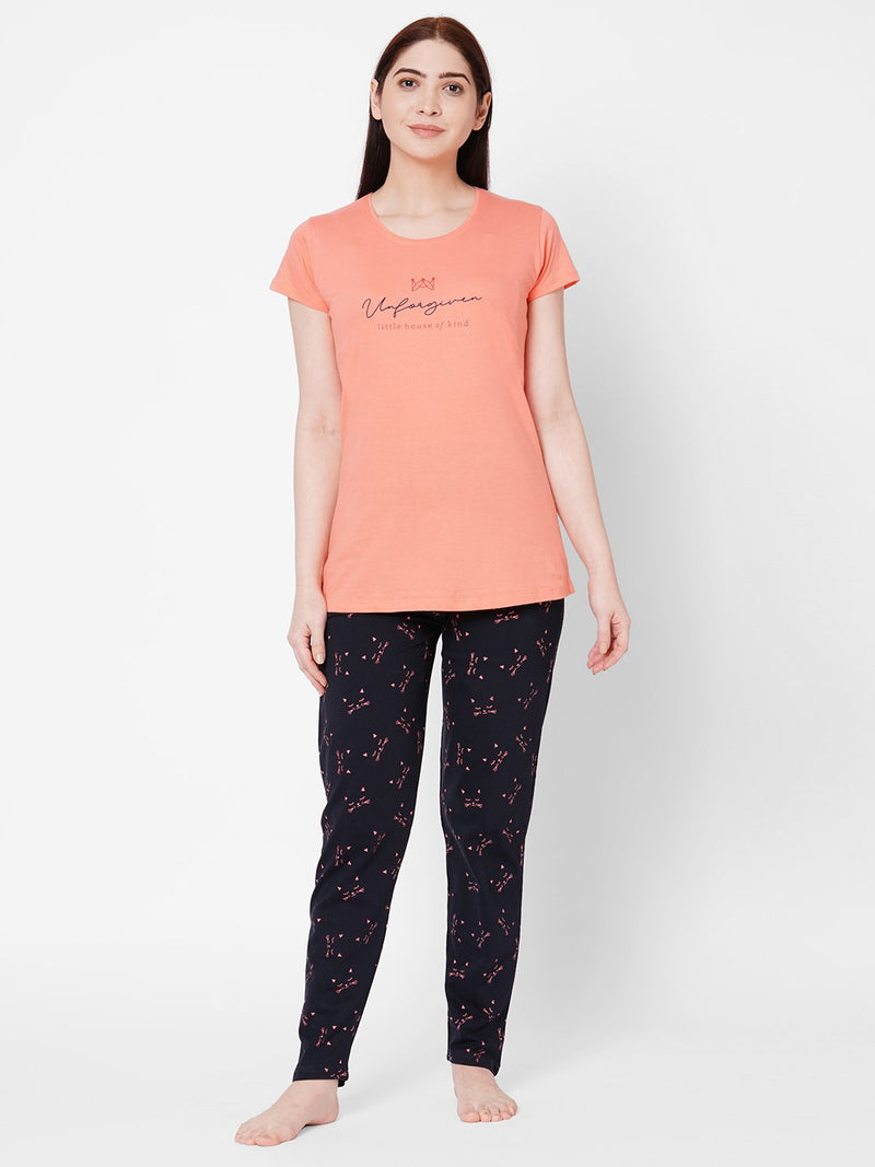ZOLA Classic Round Neck Printed Top and Pyjama Set for Women