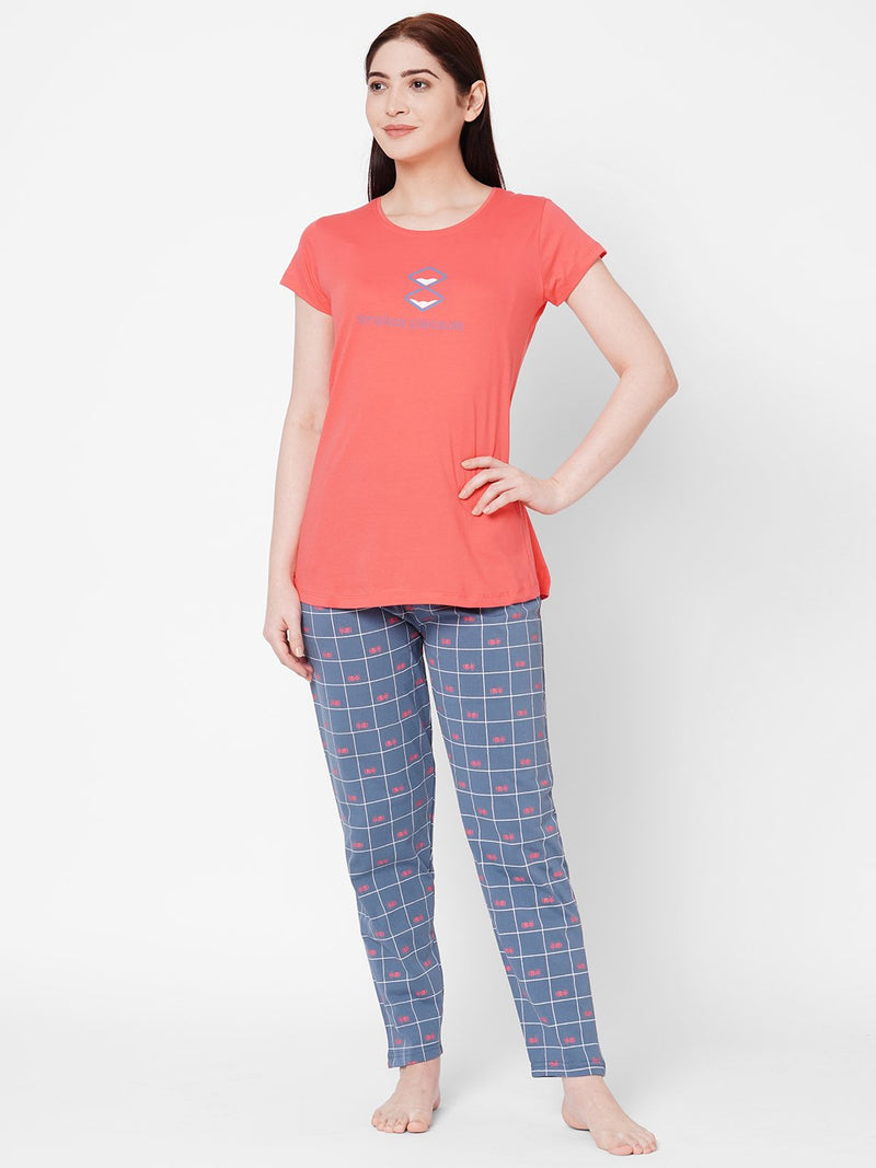 ZOLA Cosy Round Neck Checkered Top and Pyjama Set  for Women