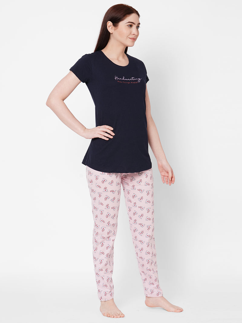 ZOLA Navy Blue Round Neck Graphic Printed Top and Pyjama Set  for Women