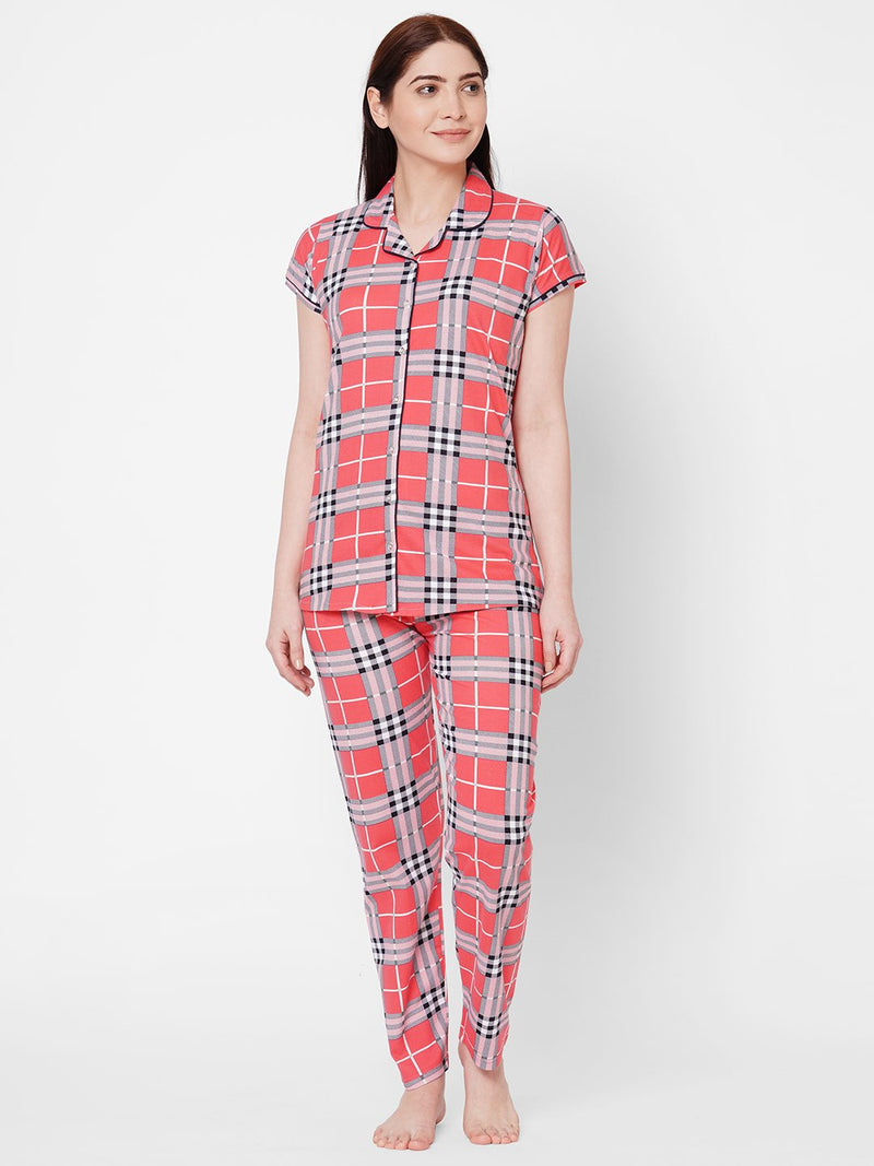 ZOLA Lapel Collar Checkered Top and Pyjama Set for Women