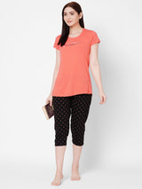 ZOLA Cozy Round Neck Printed Top and Capri Set for Women