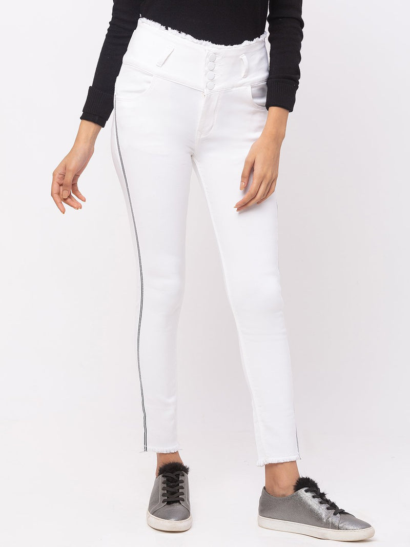 ZOLA White Frayed Waist Hem Ankle Length Jeans With Sidestrip