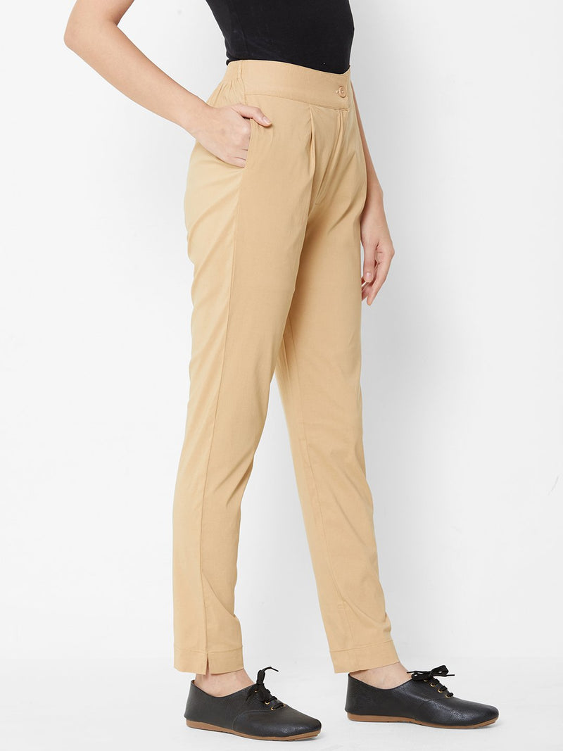 Comfortable Plain Trousers Beige
