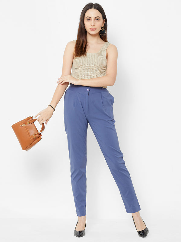 Comfortable Plain Trousers Blue