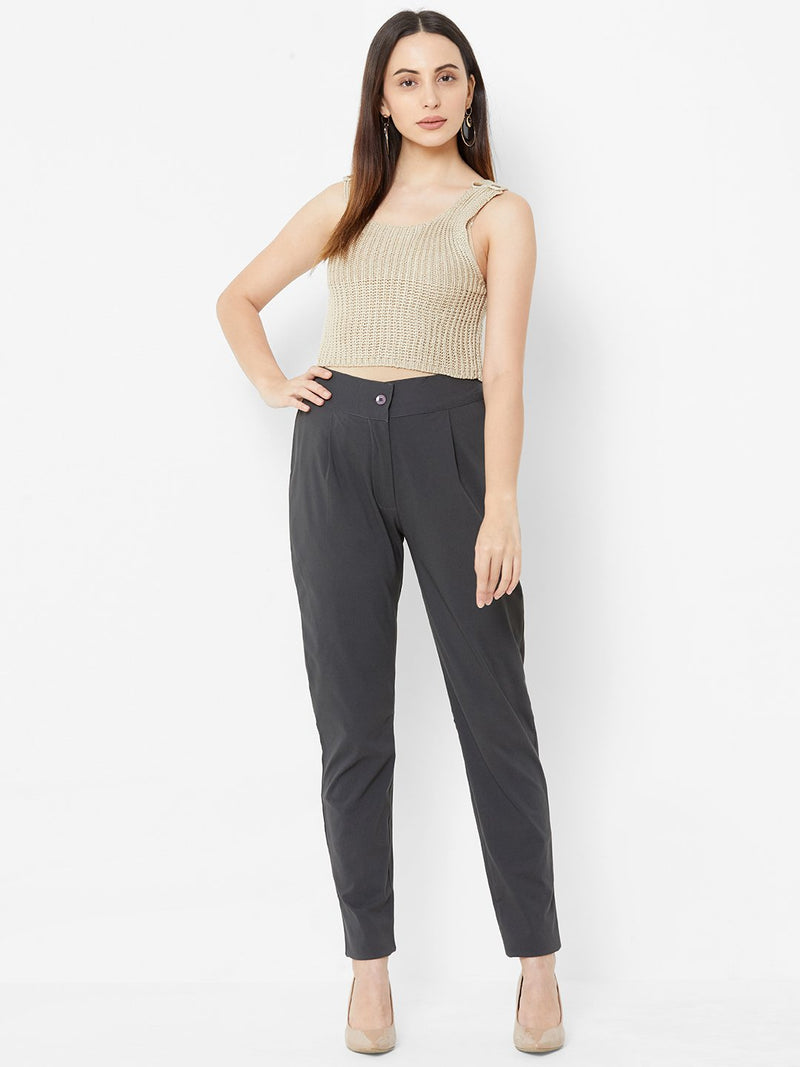 Comfortable Plain Trousers Grey